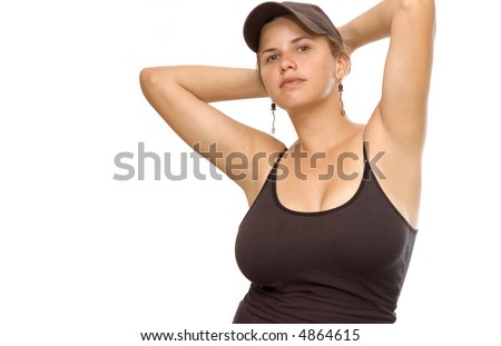 Portrait of young fitness female isolated over white background
