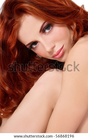 Portrait of young fresh beautiful girl with red curly hair - stock photo