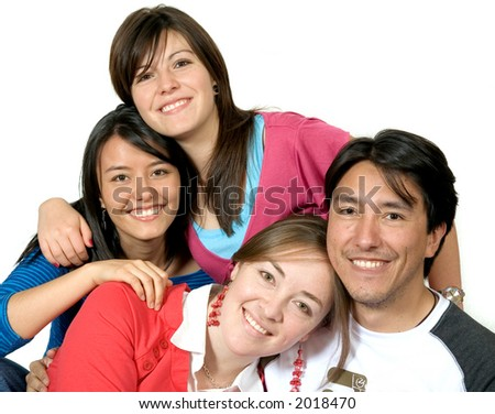 portrait of young friends over a white background
