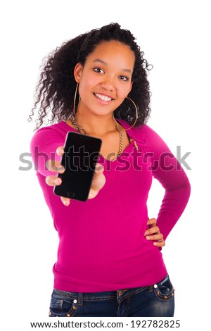Portrait Of Young Girl african Talking On phone  isolated - stock photo