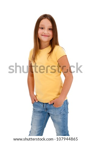 Portrait of young girl isolated on white background
