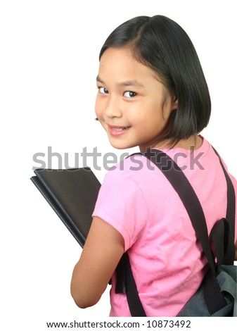 Portrait of young girl ready to go to school. - stock photo
