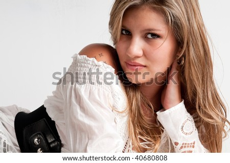 Portrait of young girl very sensual and looking. - stock photo