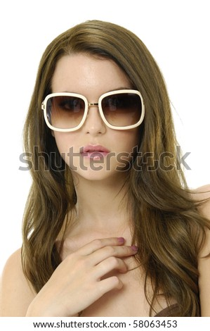 portrait of young girl wearing modern sunglasses