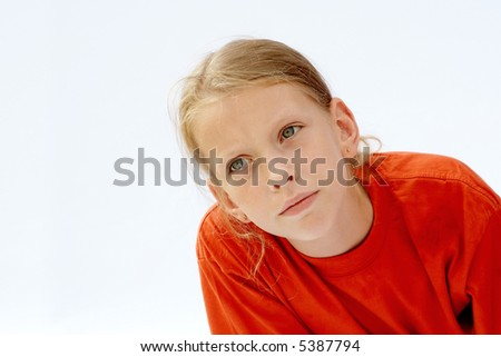 Portrait of young girl wearing red t-shirts