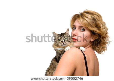 Portrait of young girl with cat isolated over white - stock photo