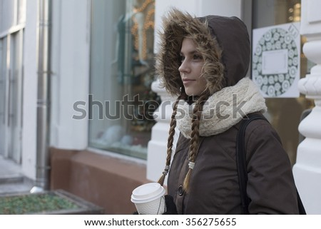 Portrait of young girl with coffee Winter Christmas New year time