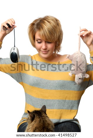 Portrait of young girl with mouse isolated over white - stock photo