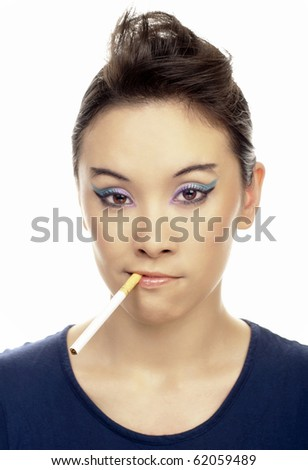 portrait of young girl with smoking cigarette. Isolated on white. - stock photo