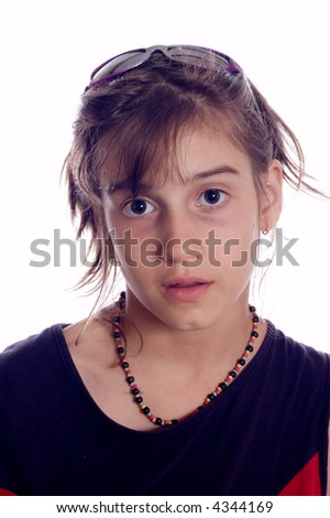 Portrait of young girl with wonder face, isolated on white - stock photo