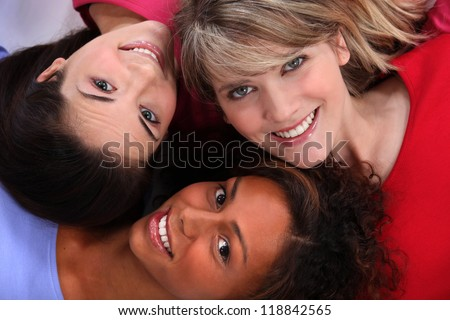 Portrait of young girls' faces - stock photo