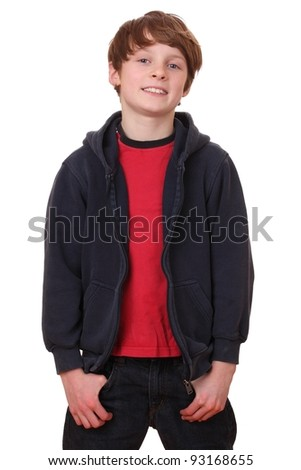 Portrait of young glad guy over white background - stock photo