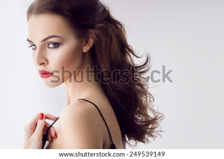 portrait of young gorgeous brunette, classic beauty - stock photo