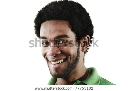 Portrait of young handsome african american man with happy expression - stock photo