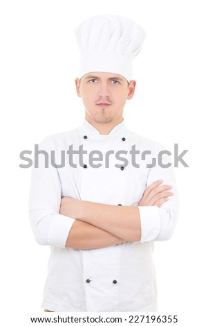portrait of young handsome man chef isolated on white background - stock photo