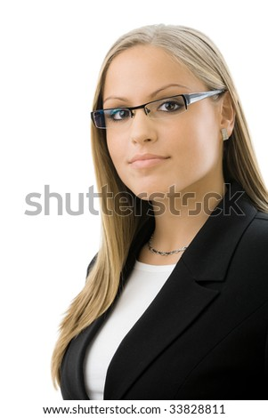 Portrait of young happy attractive businesswoman, smiling, isolated on white background. - stock photo