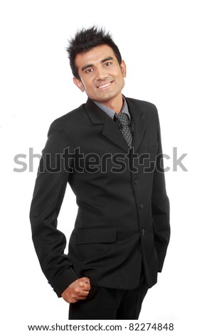portrait of young happy businessman - stock photo