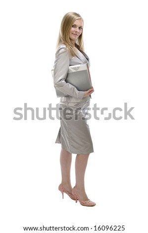 Portrait of young happy businesswoman with folder, isolated on white - stock photo