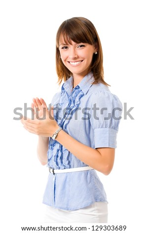Portrait of young happy clapping business woman, isolated on white background - stock photo