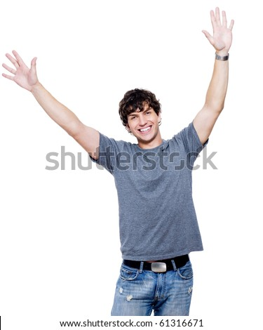 Portrait of young happy man with hands lifted upwards - stock photo