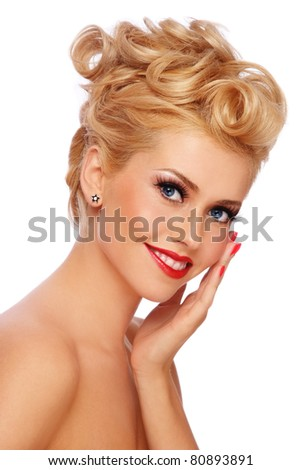 Portrait of young happy smiling blond girl with stylish make-up and hairdo, on white background - stock photo