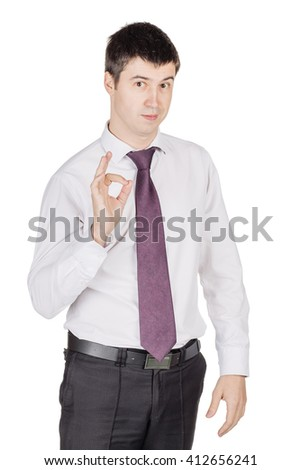 Portrait of young happy smiling business man gesturing OK sign, looking at camera.  image isolated over white background. people, female, business e and portrait concept - stock photo