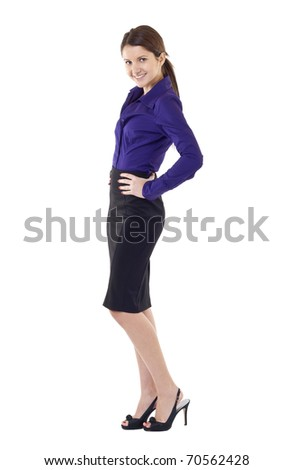 Portrait of young happy smiling business woman, isolated on white - stock photo