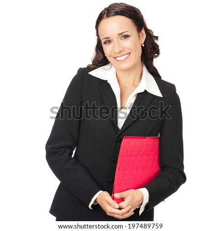 Portrait of young happy smiling business woman with red folder, isolated on white background - stock photo
