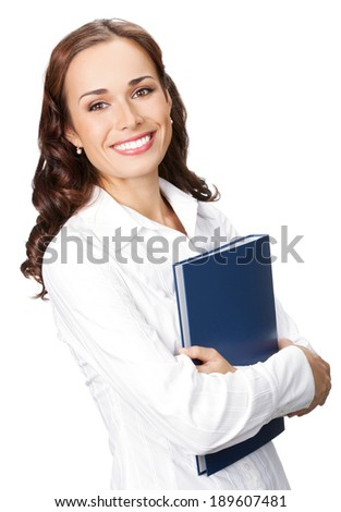 Portrait of young happy smiling businesswoman with blue folder, isolated on white background - stock photo