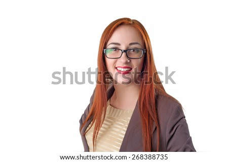 Portrait of young happy smiling cheerful redhead business woman in glasses. Isolated on white background - stock photo