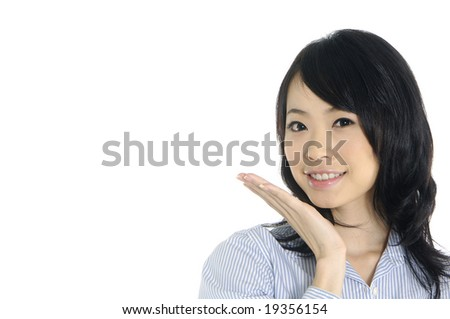 Portrait of young happy smiling woman - stock photo