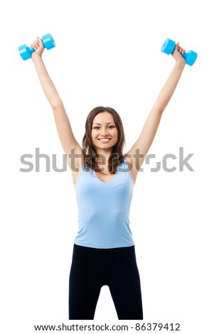 Portrait of young happy smiling woman in sportswear, doing fitness exercise with dumbbells, isolated over white background