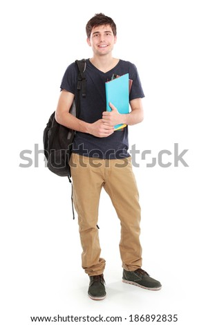 portrait of Young happy student carrying bags and books - stock photo