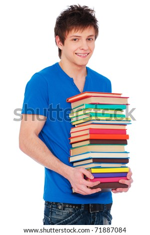 portrait of young happy student with books. isolated on white background - stock photo