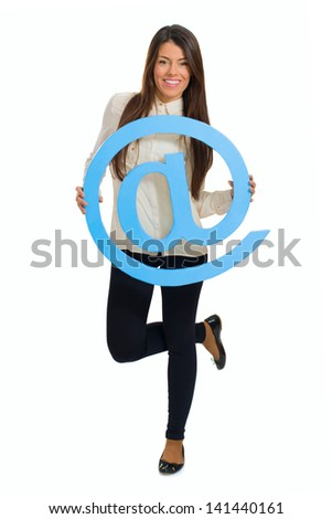 Portrait Of Young Happy Woman Holding Email Sign Over White Background - stock photo
