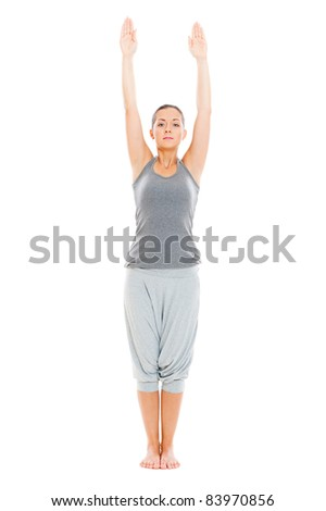portrait of young healthy woman practicing yoga. isolated on white background - stock photo
