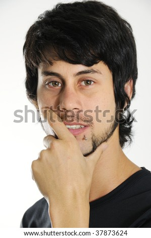 Portrait of young hispanic man isolated on white