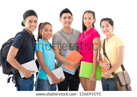 Portrait of young intelligent students of the college smiling and looking at camera isolated on white - stock photo