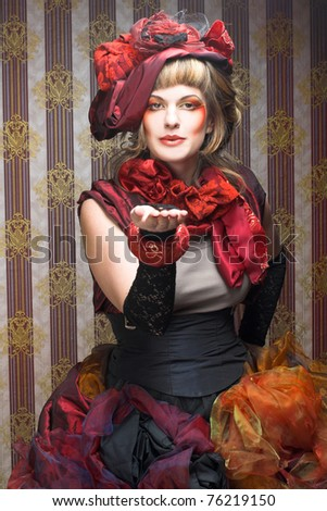 Portrait of young lady in bright creative image. - stock photo