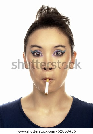 Portrait of young lady with cigarette. isolated on white. - stock photo