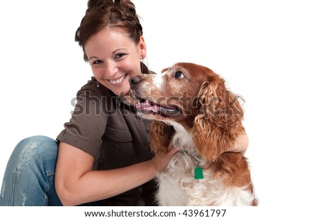 portrait of young lady with her dog - stock photo
