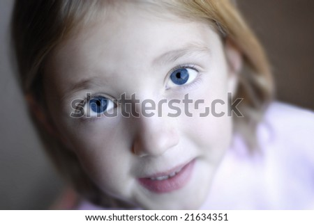 Portrait of young little girl with focus on eyes