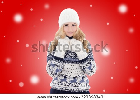 portrait of young lovely beautiful girl in winter clothes over red background - stock photo