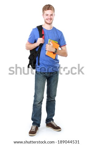 portrait of Young male student with books isolated over white background - stock photo