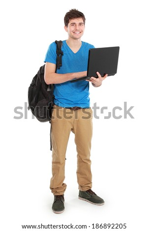 portrait of Young male student with laptop isolated over white background - stock photo