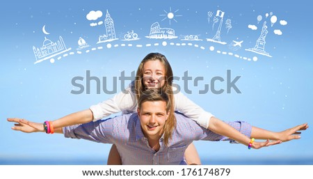 Portrait of young man and woman on a beach. - stock photo