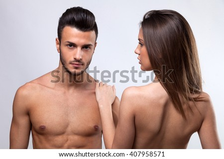 Portrait of young man and women - stock photo