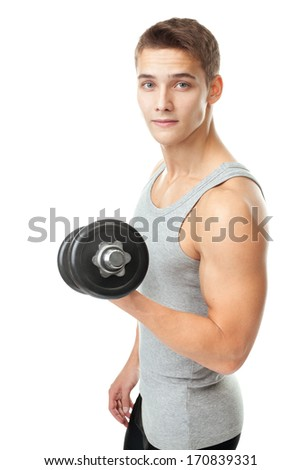 Portrait of young man bodybuilder exercising with dumbbells for training his biceps isolated on white background - stock photo