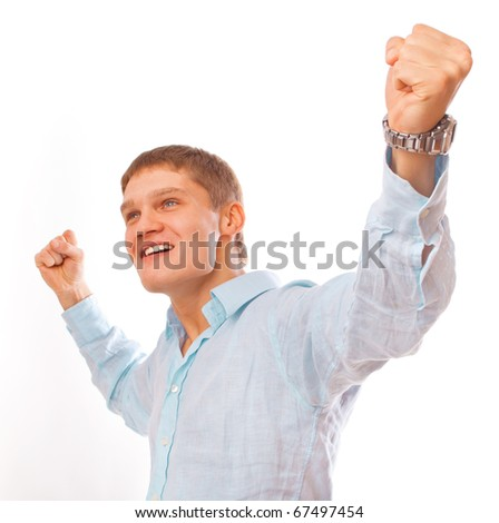 Portrait of young man celebrating success isolated on white - stock photo
