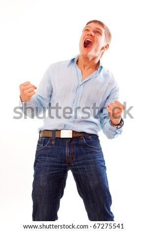 Portrait of young man celebrating success  isolated over white background - stock photo